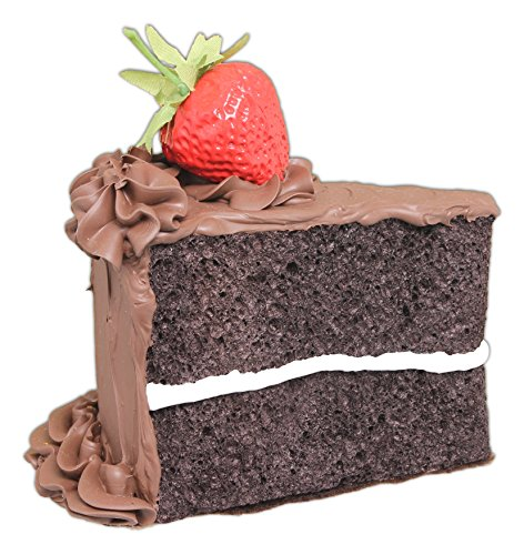 Just Dough It 5' Realistic Slice of Chocolate Frosted Chocolate Cake with Strawberry Replica Prop