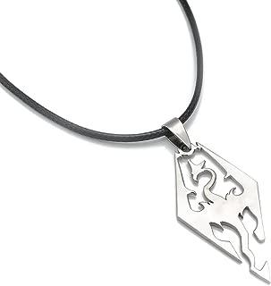 Generic the Elder Scrolls Skyrim Dragon Logo Pendant Stainless Steel Free Black Rope Chain