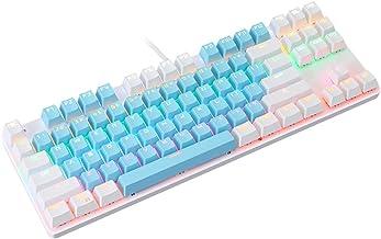 Cgration K100 - Tastiera meccanica a 87 tasti a due colori, tastiera meccanica retroilluminata RGB con cavo USB per gamer