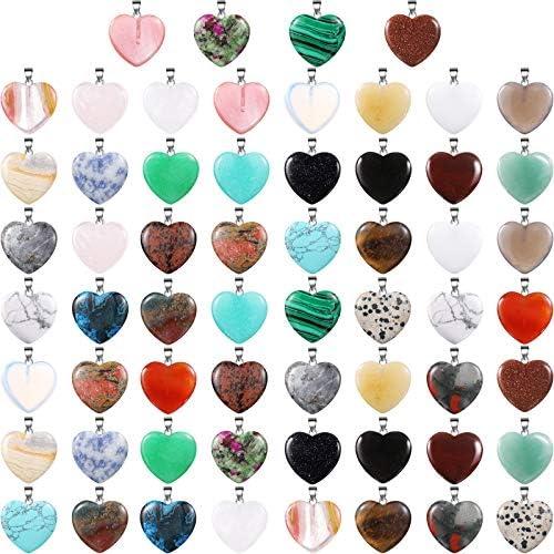 60 Pieces Heart Shaped Stone Pendants Chakra Beads DIY Crystal Charms DIY Stone Heart Pendants product image