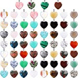 60 Pieces Heart Shaped Stone Pendants Chakra Beads DIY Crystal Charms DIY Stone Heart Pendants for Valentines Day DIY Jewelry Necklace Keychains Earring Crafts Supplies, Assorted Color