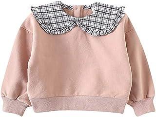 ベビー服 スウェット トレーナー 女の子 トップス 長袖 シンプル 裏起毛 丸襟 コットン 0-2歳 size 100 (ピンク)