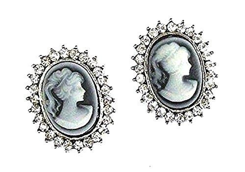 Crystal Diamante Victorian Vintage Type Cameo Lady Fancy Dress Eve Stud Earrings Jewellery