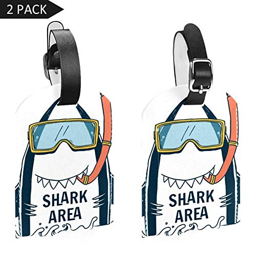 Luggage Tags Diving Shark Leather Travel Suitcase Labels 2 Packs