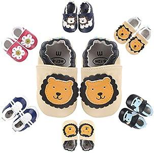 Zapatos de Cuero Suave para Bebés Bebé Primeros Pasos Zapatos 1-4 años Niños Zapatos Niños Niñas Suave Suela Zapatos de Bebé Zapatillas de Cuero Niño NiñaPantuflas Infantiles 0-6 Meses