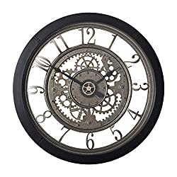 Studio Designs Home Pinnacle Gear 24 Wall Clock with Glass Face 73012, 24 W x 24 H x 2.75 D, Black/Clear