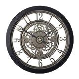 Studio Designs Home Pinnacle Gear 24' Wall Clock with Glass Face 73012, 24' W x 24' H x 2.75' D, Black/Clear