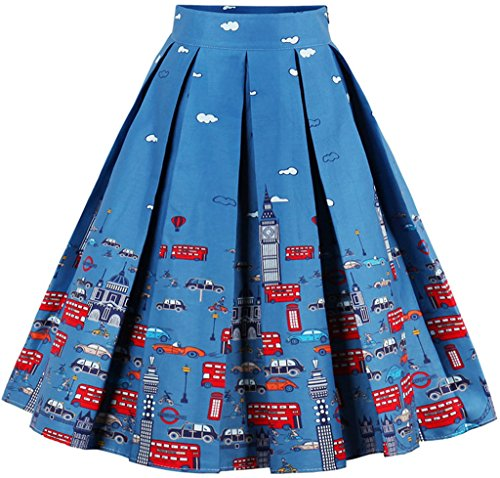 EUDOLAH Gonna Plissettata Estiva Vintage al Ginocchio per Donna Ragazza con Rtampa a Fiore(1 Aoto Blu,Large)