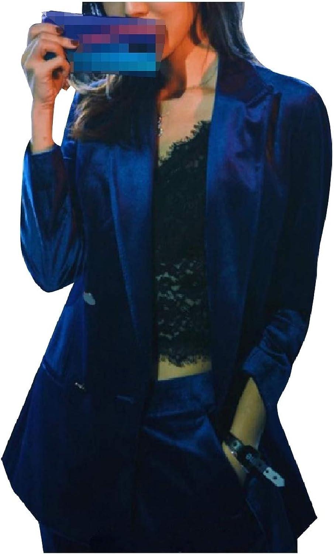 Coolhere Women Blazer Pleuche Double Button Party Business 2Piece Suits Set