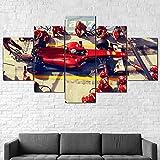 AWER Cuadros colgantes de lienzo de 5 piezas F1 Pit Stop Fórmula Uno Cuadros Decoracion Salon Modernos HD Impresión Foto Innovador Regalo Enmarcado