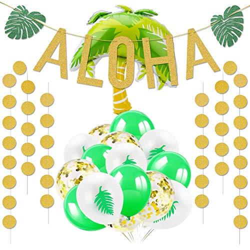 HOWAF Hawaiian Beach Forniture per Feste Decorazione, Aloha Banner Oro Ghirlanda e Palloncini hawaiani per Tropicali Summer Luau Party Feste di Compleanno Decorazione