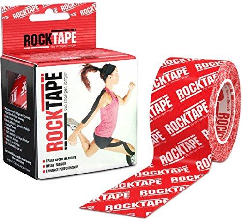 RockTape Kinesiologie-Tape, Elastisches Klebeband für Muskelregeneration, Rot, 5cm x 5cm
