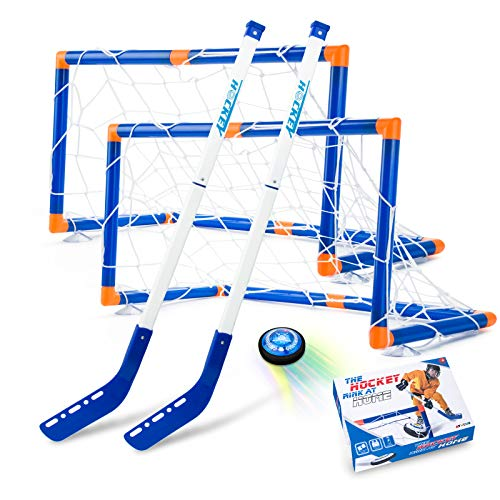 Boys Toys Hover Hockey Set, Hockey Ball Set for Indoor Games, Air Power Training Ball Playing Hockey Game,Hockey Toys for 3 4 5 6 7 8 9 10 11 12 Year Old Boys Girls (Upgrade Rechargeable Set)
