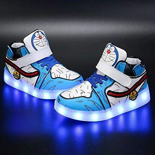 Turnschuhe für Kleinkinder, Jungen und Mädchen, mit LED-Beleuchtung, blinkende Schuhe für Jungen und Mädchen, lässig, leicht, atmungsaktiv, Sneaker (Größe: 24, Farbe: Blau)