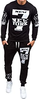 Realdo Men's 2Pcs Casual Print Letter New York Sweat Sets Sports Suit Tracksuit