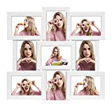 SONGMICS Picture Frames Collage for 9 Photos, 10 x 15 cm (4 x 6 Inch) Photos, Wall Mounted, Multi Family Photos, MDF, Glass Panel, White RPF029W01