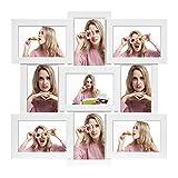SONGMICS Collage di Cornici per 9 Foto di 10 x 15 cm (4 x 6 Pollici), da Parete o su Tavolo, MDF, Copertura in Vetro, Bianco RPF029W01