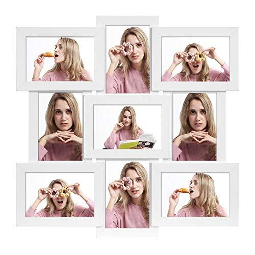 SONGMICS Cadre pêle-mêle, Support 9 Photos, 10 x 15 cm, à accrocher, pour Photos de Famille, MDF, Protection Verre, Blanc RPF029W01