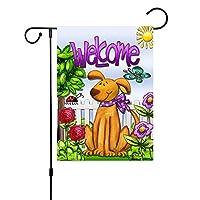 sky-open 庭の旗 アメリカ風 動物 花 可愛い 両面バナー リネン 祭りガーデン 45*30cm 吊り下げ式 簡単に取り付け 飾り用 家庭用装飾 花園 祭り用(H03)