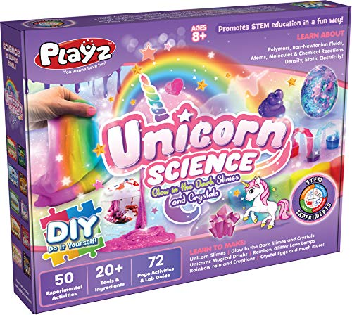 Playz Unicorn Slime & Crystals Science Kit Gift for Girls & Boys with 50+ STEM Experiments to Make Glow in The Dark Unicorn Poop, Snot, Fluffy Slime, Crystals, Putty, Arts & Crafts for Kids Age 8-12 3