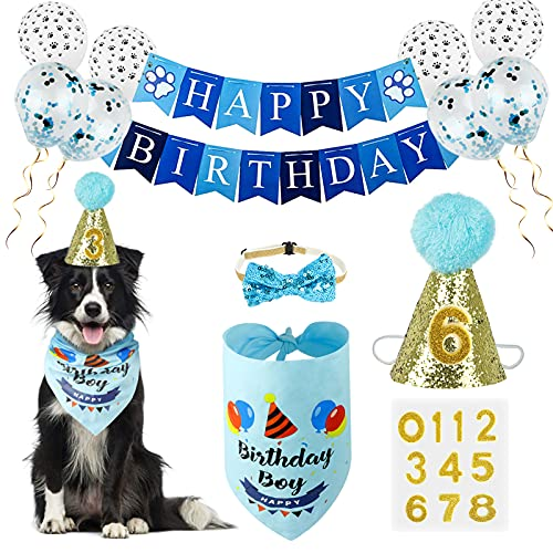 Dog Birthday Bandana Boy, VIPITH Cute Dog Birthday Party Supplies with Happy Birthday Banner Bow Tie Hat Banner Balloons Cake Topper for Pet Puppy Cat Birthday Decorations (Blue/Boy)