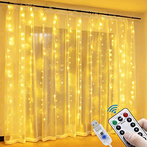 LED Fairy Curtain String Lights - Christmas Indoor Outdoor Wedding Party Home Garden Bedroom Wall Decoration(Warm White)