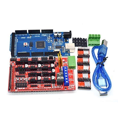 DTOYZ M e g a 2560 R3 CH340 + 1PCS RAMPS 1.4 Controlador + 5pcs A4988 / DRV8825 Módulo De Controlador Paso A Paso + 1pcs 12864 Controlador para Kit De Impresora 3D (Color : A4988 Kit)