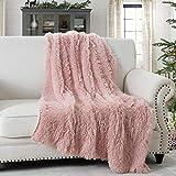 HORIMOTE HOME Manta de piel sintética – Lujosa manta de pelo largo y mullida para sofá y cama, color rosa 127 x 152 cm