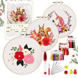 YINVA 25Pcs Embroidery Starter Kit,Hand Embroidery Kits,Kids Embroidery Kit,Unicorn Animal Embroidery Pattern Including Cross Stitch Set Instructions Hoops Floss Thread Fabric Needles for Beginners