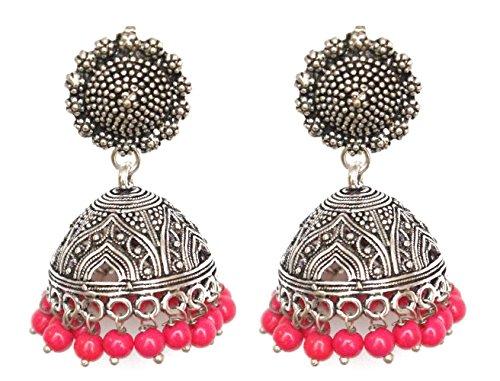 Pahal - Pendientes tradicionales de plata oxidada con perlas rosas indias