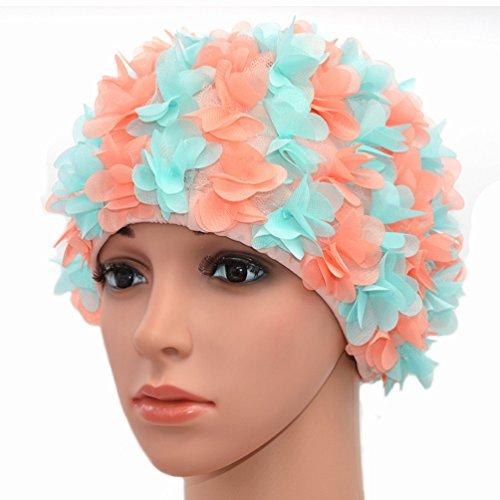 Medifier, Spitze, Vintage Badekappe mit Blütenblatt-Retrostyle, Bademütze für Damen mit Blumenmuster (Rose) (hellblau und orange-rot)