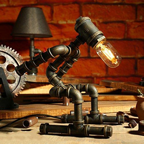 Yxsd Vintage Industrial ijzeren waterbuizen tafellamp, Amerikaanse antieke eenvoudige single head farmer lamp, tafellamp voor nachtkastje bureau wijnkelder robot steampunk leeslamp