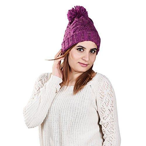 ZAZA Maglia Unisex Morbido Acrilico Berretto alta qualità Inverno Cappelli con Con pon pon - NightBlue, One size