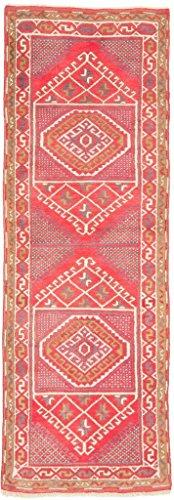 CarpetFine: Kars Teppich 77x225 Beige,Rot - Handgeknüpft - Geometrisch