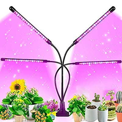 Soft Foot Grow Light for Indoor Plants - Upgraded Version 80 LED Lamps with Full Spectrum & Red Blue Spectrum, 3/9/12H Timer, 10 Dimmable Level, Adjustable Gooseneck,3 Switch Modes