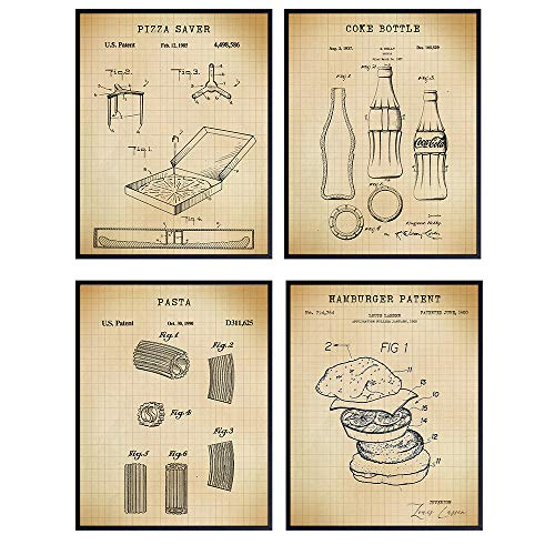 Pizza Coke Pasta Hamburger Patent Art Prints - Vintage Wall Art Poster Set - Chic Rustic Home Decor for Kitchen, Dining Room, Man Cave, Family, Game Room, Den, Office, Great Gift, 8x10 Photo Unframed