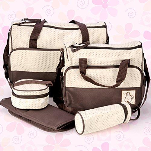 Sac à langer à bandoulière pour bébé, sac de transport multi fonctionnel (5 pièces) marron