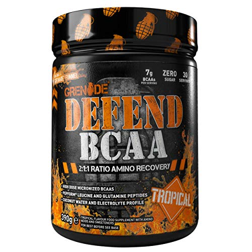 Grenade Defend BCAA Powder, Tropical, 390 g (7 g BCAA's Per Serving - 30 Servings Per Tub)