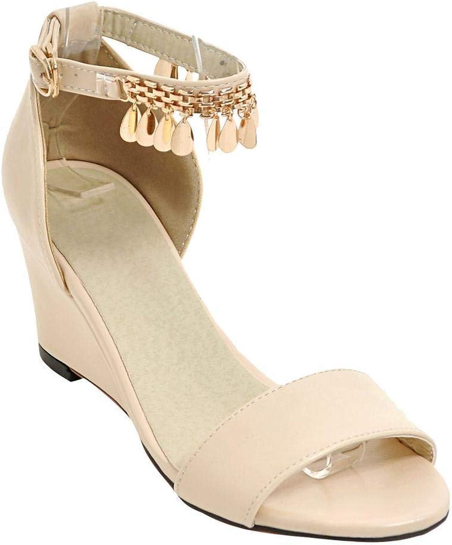 Gedigits Women's Elegant Open Toe Wedge Metal Ornamented Sandals Black 4.5 M US