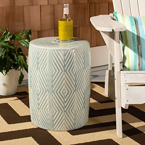 Safavieh ACS4578A Hemdi Ceramic Decorative Garden Stool, Light Blue