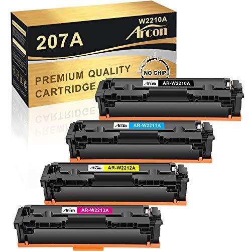 Arcon Kompatibel Toner Cartridge Replacement für HP 207A 207X HP W2210A W2210X W2211A W2212A W2213A für HP Color Laserjet Pro M283fdw M255dw M282nw M283fdn MFP M283fdw M283 M255 (Kein Chip)