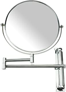 Lansi 10x Magnifying Wall Mounted Makeup Mirror,10X Magnification Makeup Mirror Adjustable Height Double-Sided Mirrors for Bathroom Vanity, Round Shape