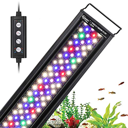 hygger 42W 24/7 Lighting Aquarium LED Light, Sunrise-Daylight-Moonlight Mode and DIY Mode, Adjustable Timer Adjustable Brightness Fish Tank Light with Extendable Bracket 7 Colors for Planted Tank