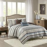 Madison Park Reversible Quilt Luxury Jacquard Design All Season, Breathable Coverlet Bedspread Bedding Set, Matching Shams, Decorative Pillow, King/Cal King(104'x94'), Princeton, Blue, 5 Piece