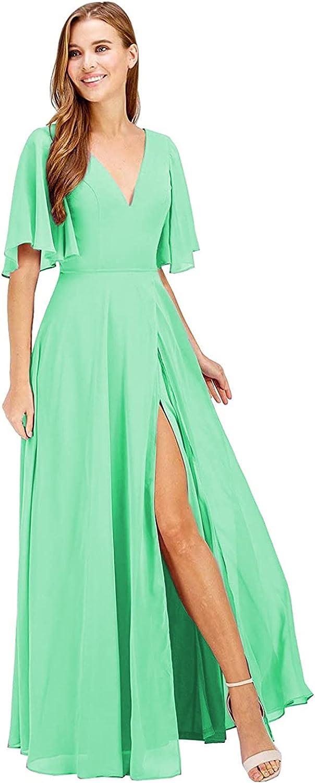 YMSHA V Neck 爆安 Aline Bridesmaid Dresses Chiffon Ruffle 通常便なら送料無料 Long Women'