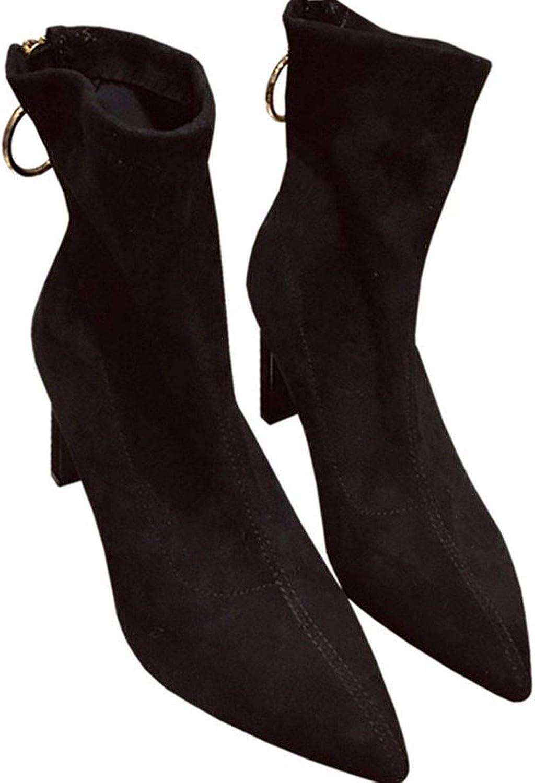 HBDLH Damenschuhe Wildleder Kurze Stiefel Mit Hohen 8Cm Reiverschluss Spitze Grob Schwarz Dünn Pendler - Mode - Stiefel.