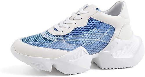 XLY mujeres Moda Chunky papá Hauszapatos, plataforma Encaje-up Malla Transpirable zapatos de Senderismo atlético,azul,40