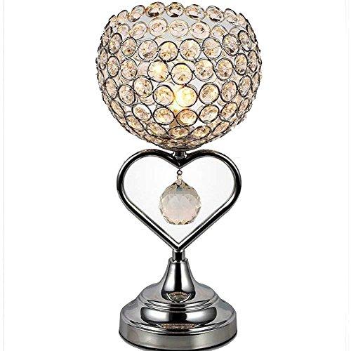 TRADE® kristallen tafellamp chroom afwerking metalen basis decoratieve ruimte licht met K9 kristallen hartvormige schrijftafel lamp voor bruiloft decoratie eettafel (zilver)