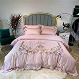 Suave Jane algodón hermoso bordado de algodón ropa de cama de plumas ropa de cama europea de fibra larga de cuatro piezas textiles for el hogar - en polvo jade_1.8 Yu Zhilian / 2m gran [funda de edred