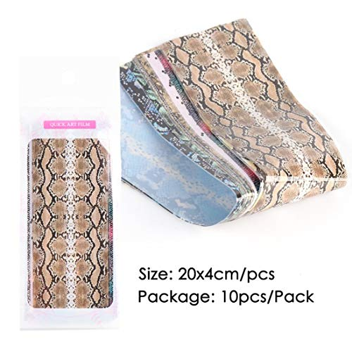 Nail Art 10st Snake Skin Nagel Folie Stickers Leopard gedrukte ontwerpen Nail Art Transfer Folies Set Holographic Adhesive Wraps Paper TR1629 RSS (Color : 1629 Pack)